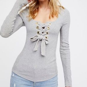 FREE PEOPLE | Gray  Ross Criss Lace Bow Tie Top